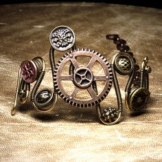 steampunk Jewelry made by CatherinetteRings Gear Bracelet with Vintage Victorian Buttons