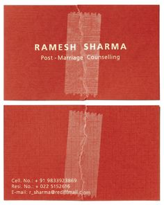 Business Card of a Post Marriage Counsellor