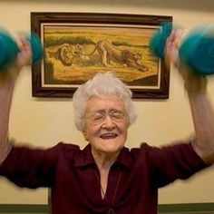 """PUMPING IRON PAST 100 -- 105-year old Marge Jetton woke every morning at 5:00 am, read her Bible, ate oatmeal followed by what she called a """"Prune Juice Shooter"""", then she went down and pumped iron. That was just a warm up for her day of volunteering.  Marge, who would be 108 this year personified the attitude of successful centenarians around the world. #bluezones #motivationmonday"""