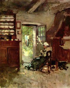 Nicolae Grigorescu (1838–1907) (peintre Roumain)- Interieur in Vitré