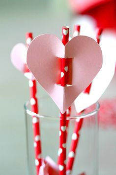 Create Valentines Day Straw topper with heart, also great for pencils (parties, teachers, and classrooms!)
