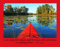 Red Kayak Fall Colors Photo Einstein Quote by PinetreePhotoArt