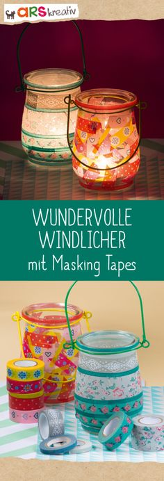 Wonderful lanterns with masking tapes instructions on - Fall Crafts For Kids Cheap Fall Crafts For Kids, Easy Fall Crafts, Masking Tape, Washi Tape, Diy Halloween Dekoration, Tape Crafts, Dollar Stores, Diy Gifts, Lanterns