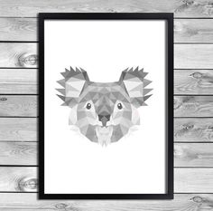 Digital download: Koala poster. In the black white gray - geometric patterns. Fun for a list or as a poster on the wall with washi tape!    WHAT DO