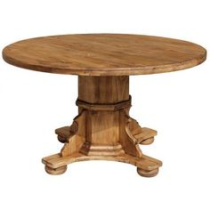 The sturdy handmade construction of this rustic table will give you a lifetime of service in your dining area.  The solid pedestal base provides decoration and stability.  This table will take you through romantic candlelit dinners for two, to family gatherings with seating for as many as six.   Place a large vase filled with flowers in the center and use this table in a large entry area.   Handmade in Mexico and available in two heights below.