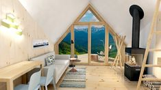 Small prefabricated house (cabin) in Ukrainian mountains - Carpathians. Mostly designed for active travelers and mountain scenery lovers. Can be used as a private house or a small hotel cabin. Modern Tiny House, Tiny House Cabin, Tiny House Living, Tiny House Plans, Cabin Homes, Tiny Houses, Resort Interior, Modular Housing, Wooden Terrace