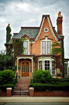 Victorian House with brick and a mansard roof. This would be the best Halloween house ever! Victorian Architecture, Beautiful Architecture, Beautiful Buildings, Beautiful Homes, Architecture Design, Victorian Buildings, House Beautiful, Beautiful Things, Future House
