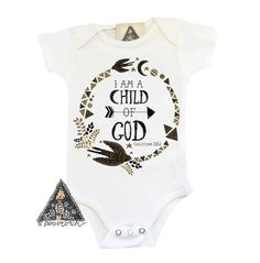The {ORIGINAL} I AM A CHILD OF GOD: Designed and handmade with Gypsy Soul in Chicago. Printed with a direct to garment printer. Made for your boho bambino.  Inspired by a friends adoption journey, this sweet and boho design includes moon, stars, and a bird, along with the beautiful Bible verse, Galatians 3:26. This makes for a memorable newborn Christmas baby gift, baby shower gift, adoption gift, worth the wait or rainbow baby gift. Design is also beautiful on a toddler shirt or even an…