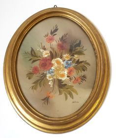 Original Oil Painting Picture Signed Oval Gilt Gold Glass Frame Floral Italian