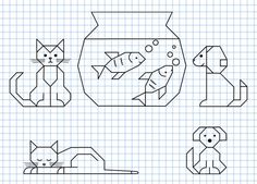 Reproduction Sur Quadrillage - Animaux Blackwork Patterns, Blackwork Embroidery, Cross Stitch Embroidery, Cross Stitch Patterns, Graph Paper Drawings, Graph Paper Art, Easy Drawings, Drawing For Kids, Cross Stitching