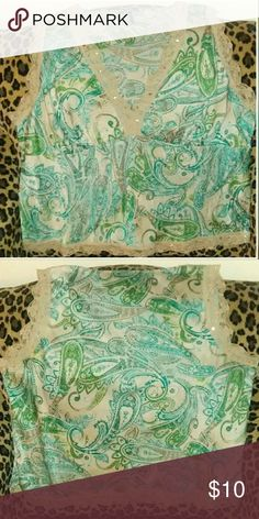 Daisy Fuentes Sequins Lace Paisley Tank This top has been gently worn. It has beautiful lace and sequins details. Plus size 2X. It fits closer to a size 18 -20  on top. Daisy Fuentes Tops Tank Tops