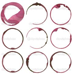 set of 9 wine stains