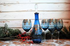Vintage Decanter and Glasses Set Blue and Gold by EnchantedBella