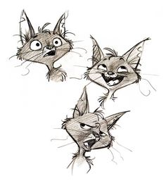 Mittens concept art for Bolt. Cat head study sketches. ★ Find more at http://www.pinterest.com/competing/