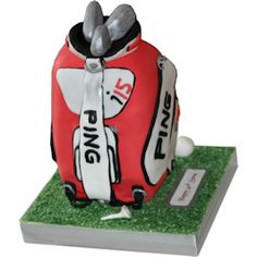 """Ping Golf Bag 3D Cake SKU:  Approx Size (10 x 6 x 6 inch) Approx Portions (40+) Also available in other sizes and styles.  This 3D golf bag cake will be welcomed by any golf enthusiast. Standing approx 10"""" tall 6"""" wide and approx depth of 6"""". An upright 3D cake of the popular Ping Style golf"""