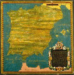 Rare renaissance painted map of Spain and Portugal by RoyalArtPrints