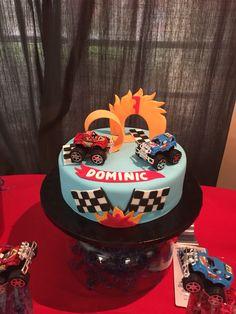 Monster truck theme cake