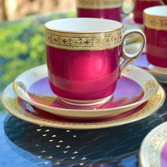 Victorian Tea Trio Cup Saucer and Side Plate - off White Bone China with wide Soft Ruby Red Glaze, Gold Pattern Band and Gilt Rims