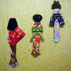 3 Japanese paper dolls back view
