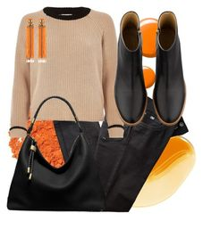 """Oh, orange"" by byzaya ❤ liked on Polyvore featuring Illamasqua, BRAX, River Island, Topshop, Michael Kors, A.P.C. and Begada"