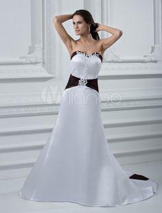 Vestido de boda de faja negra de estilo simple - Milanoo.com