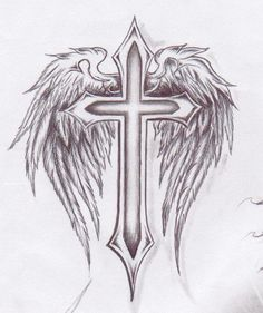 Cross With Wings And Heart Tattoo