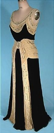 c. 1930's NEMSER ORIGINAL MODEL Black Silk Velvet Gown with Rhinestone and Beaded Ecru Velvet Trim!