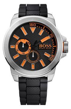 e7f429dd5d60 BOSS Orange Multifunction Silicone Strap Watch