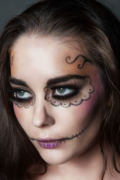 Halloween Makeup - for Scary Doll Fancy Dress #Halloween    http://www.sparklingstrawberry.com/products/Rockin-Ragdolly-Fancy-Dress-Costume.html