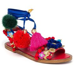 Dolce & Gabbana Pom-Pom Leather Lace-Up Sandals (€2.215) ❤ liked on Polyvore featuring shoes, sandals, apparel & accessories, multi, leather sandals, leather shoes, multi color shoes, colorful sandals and lace up sandals