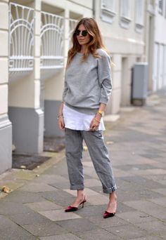 Sweatshirt, pants, heels
