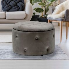 Round Storage Pouffe in Charcoal - Cleo Range Ottoman Stool, Ottoman Storage, Bedroom Ottoman, Foot Rest, Home Bedroom, Space Saving, Charcoal, Contemporary, Stools