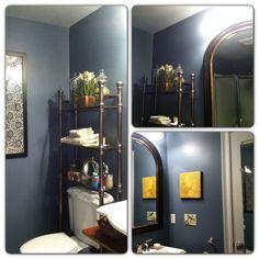 "Blue bathroom. Benajmin Moore paints: ""Normandy"" walls and ""Mt. Rainer Gray"" ceiling."