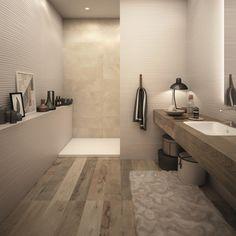 Badezimmer Mit Dachschräge Komplett Mit Fliesen In Holzoptik ... Badezimmer Holzfliesen