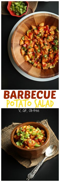 Barbecue Potato Salad. Sweet, smoky, crunchy, full of flavor and healthy. This salad is good for you, is oil-free and gluten-free and is ready in an hour.