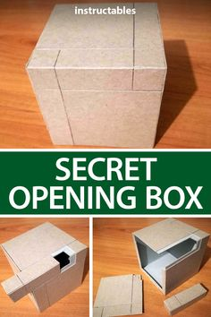 Secret Opening Box Using cardboard, make a simple secrete opening box that requires certain parts moved in the right order to reveal the compartment inside. Escape Room For Kids, Escape Room Puzzles, Cardboard Box Crafts, Cardboard Castle, Cardboard Recycling, Cardboard Playhouse, Cardboard Toys, Cardboard Furniture, Escape Box