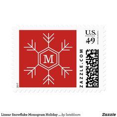 Linear Snowflake Monogram Holiday Postage