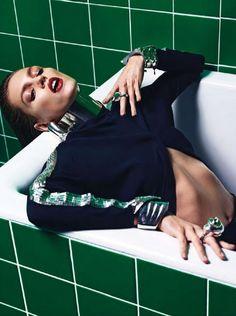 Anja Rubik - Do Not Disturb - Vogue Paris March 2013   Mario Sorrenti  www.mariosorrenti.com  via vogue.fr    for #composition #motion #color