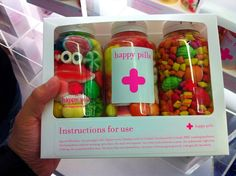 Happy Pills is the best candy store name ever. Creative Birthday Gifts, Cute Birthday Gift, Friend Birthday Gifts, Diy Birthday, Cute Gifts, Diy Gifts, Fun Crafts, Diy And Crafts, Candy Craze