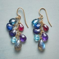 """BLUE WAVELENGTH EARRINGS--Labradorite anchors London topaz, kyanite, apatite and iolite alongside pink tourmaline and amethyst on our 'Blue Wavelength' earrings. Exclusive. Handmade in USA by Thoi Vo. 14kt gold-filled twists, French wires. 1-5/8""""L."""