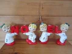 Vintage NOEL Napco Christmas Pajama Girls Candle by GingerNIrie