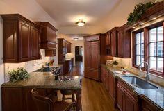 """#Traditional #galley #kitchen without the """"Galley"""" feel! in Wilmette, IL by Dream Kitchens.  What do you think?"""