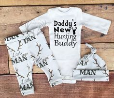 Baby Boy Coming home Outfit, Daddy's New Hunting Buddy,Little Man,Antlers,Arrows,Country Outfit,WhiteBrown,Dark Green,leggings,hat by TheSouthernCloset101 on Etsy https://www.etsy.com/listing/466269997/baby-boy-coming-home-outfit-daddys-new
