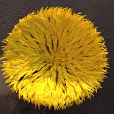 """African Traditional/ 28""""Yellow Feather Head dress/ JuJu hat from cameroun"""