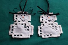 Two Cute Hardanger Snow Men Ornaments | eBay