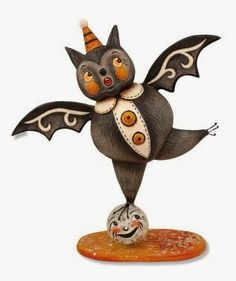 Cute Halloween bat balances on a full moon. Shop for more Halloween reproductions by Johanna Parker in our online store. Fairy Halloween Costumes, Halloween News, Halloween Banner, Halloween Doll, Halloween Party Decor, Halloween Stuff, Halloween Queen, Halloween Drawings, Halloween School Treats
