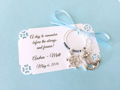 Nautical theme wine charm favors for Bridal Shower or wedding favors: 2 charm set. Perfect for Bridal Shower Favors. 1 to 50 favors listing. by Winewifehappylife on Etsy