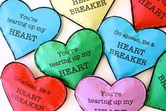 Heartbreaker Valentines  - LISA: My nine-year-old son, who is not a fan of Valentine's Day, LOVED making these for his classmates. They are not too lovey-dovey and you rip open a heart. He loved it!