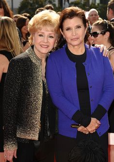 Actresses Debbie Reynolds and Carrie Fisher attend the 2011 Creative Arts Emmy Awards at Nokia Theatre L.A. Live on September 10, 2011 in Los Angeles, California. via @AOL_Lifestyle Read more: http://www.aol.com/article/entertainment/2016/12/24/exclusive-carrie-fisher-in-intensive-care-unit-after-heart-atta/21641601/?a_dgi=aolshare_pinterest#fullscreen