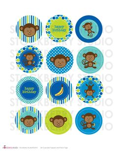 2 inch Boy Monkey Printable Cupcake Toppers or Favor Tags. 3.00, via Etsy.